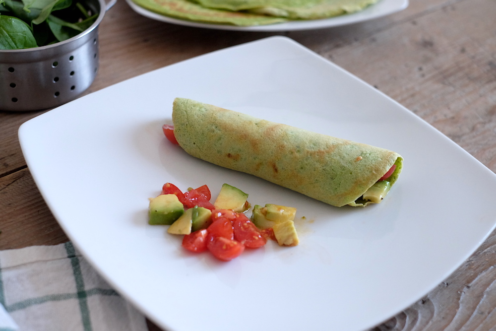 Crepes di spinaci con avocado