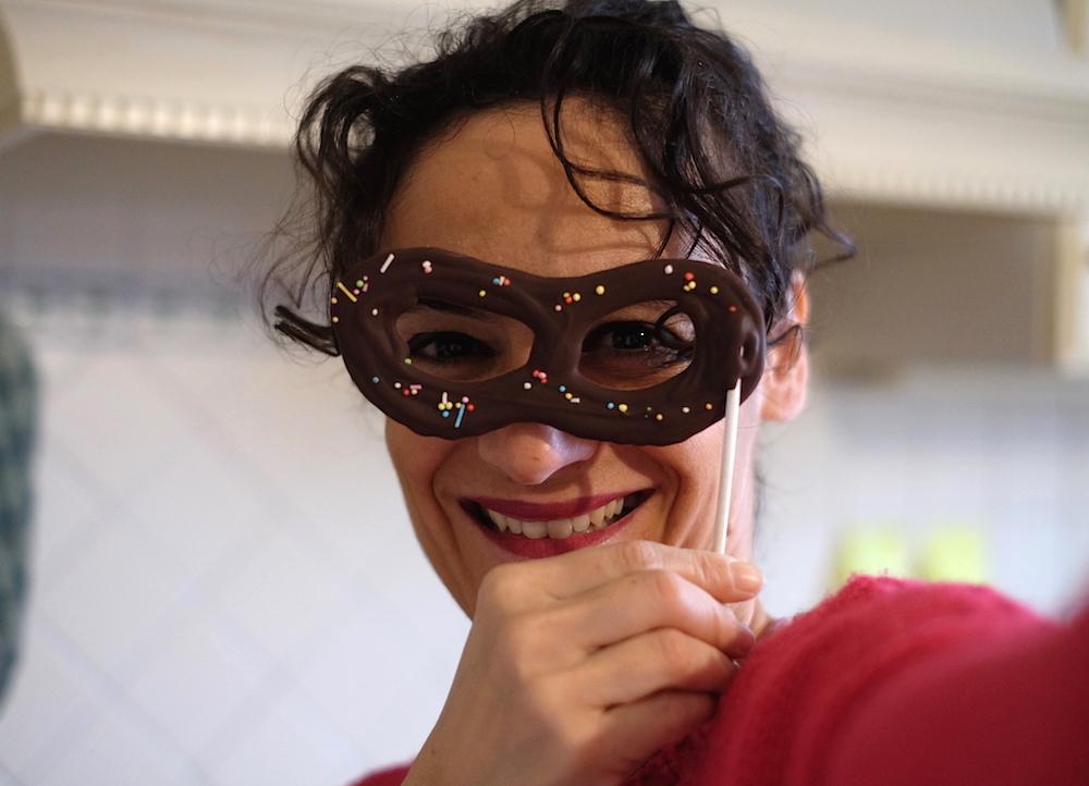 Maschera di carnevale di cioccolato
